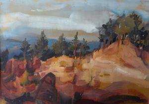 Pines at Roussillon, gouache