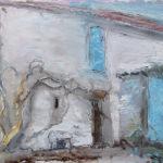 La porte bleu, Talmont. 15x20 cms, oil pastel on paper